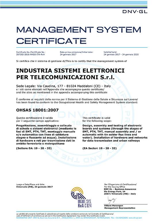 Certificazione OHSAS 18001:2007